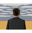 Lonely man with cloudy sky vector image vector image