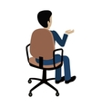 Man Sitting on the Chair and Pointing on Something vector image