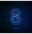 Neon 3D number 8 vector image