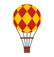 Yellow and red hot air balloon icon isolated vector image