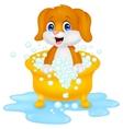 Dog cartoon bathing vector image