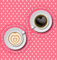 2 cups of heart in coffee vector image