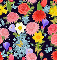 colorful floral design on dark background seamless vector image