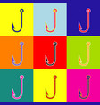fishing hook sign pop-art vector image