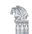 gothic gargoyle hand drawn design element vector image