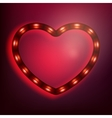 Neon glowing heart on red background EPS 10 vector image