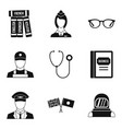 sensible icons set simple style vector image