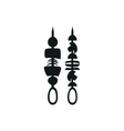Skewer for grilled simple black icon on white vector image