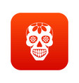 sugar skull flowers on the skull icon digital red vector image