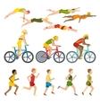 Triathlon athletes design stylized symbolizing vector image