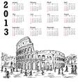 rome colosseum 2013 calendar vector image