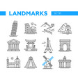 world famous landmarks - line design icons set vector image