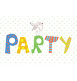 Funny party banner with texture and bird vector image