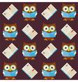Flat Seamless Pattern Wisdom Owl Reading Book vector image