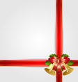 christmas gift ribbon with decoration vector image