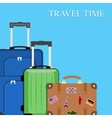 Baggage luggage suitcases on background vector image