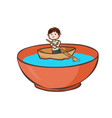 a man paddle boat in the bowl vector image