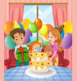 birthday party with family and cake vector image