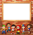 Border design with many children vector image
