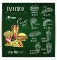 Fast food menu chalk sketch on blackboard vector image