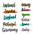 hand lettering modern calligraphic countries of vector image