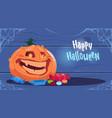 happy halloween party banner big pumpkin vector image