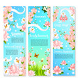 summer flowers bouquets banners vector image