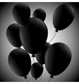 Black balloons on ralial background vector image vector image