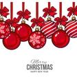 Red Christmas balls with ribbon and bows greeting vector image