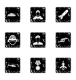 Equipment for war icons set grunge style vector image
