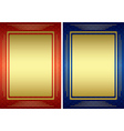 red and blue frames with golden decoration vector image