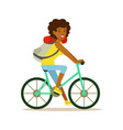 young happy woman riding on a bicycle with a vector image