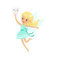 beautiful sweet blonde tooth fairy girl flying and vector image