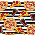 fast food pizza soda stripes background seamless vector image