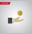 isolated save money flat icon hand with coin vector image