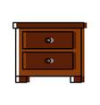 wooden nightstand isolated vector image