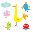 Cartoon bird set Cute cartoon character Funny vector image