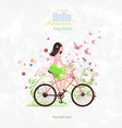 sport Invitation card with a pretty girl riding on vector image vector image