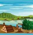 river scene with chopped woods on the banks vector image vector image