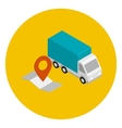 Delivery car with route map vector image
