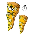 Tasty pizza slice cartoon character vector image vector image