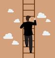 Businessman climbing the ladder vector image