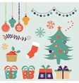 Cute Christmas decorative elements and icons vector image vector image