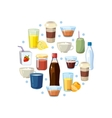 Non alcoholic drinks concept in circle vector image