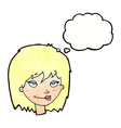 cartoon smiling woman with thought bubble vector image