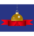 Christmas ball in red silk ribbon vector image
