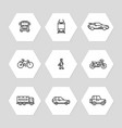 city transportation line icons set - cars train vector image