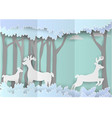 paper art landscape of forest with deer paper vector image