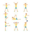 senior man character exercising set healthy vector image