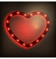 Neon heart on wood EPS 10 vector image